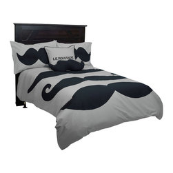 Rizzy Home - Le Moustache Gray Twin Size Kids Comforter Bed Set - Le Moustache Comforter Set brings a touch a Paris to your boys bedroom.  Le Moustache brings three different styles of mustache prints across a solid gray comforter.  Then accent it with mustache printed sham.  Comforter set consists of a twin comforter and one standard sham.