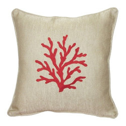 Pillow Decor - Pillow Decor - Sea Coral in Red 17 x 17 Throw Pillow - Coral patterns never cease to amaze and inspire us. The Sea Coral Red Throw pillow combines a beautifully embroidered red coral design on a rich sand colored cotton-linen blend fabric. A great accent pillow that will work well to add a splash of color or to tie-in similar or complementary colors in your space.