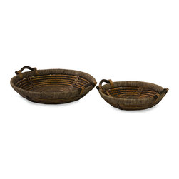 Oversized Woven Willow Basket Trays - Set of 2 - *Set of Two Matching Oversized Willow Woven Decorative Trays in Graduated Sizes.