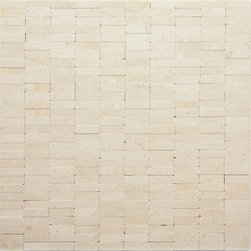 "Glass Tile Oasis - Mondrian (Crema Marfil) Uniform Brick Cream/Beige Brick Series Honed Stone - Sheet size: 12"" x 12"""
