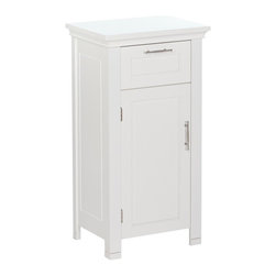 None - RiverRidge Somerset One-Door Floor Cabinet - Classic Somerset design is enhanced with a detailed inset door,drawer and side panels. This cabinet features a covered design top and two-tone satin/mirror finish handles on an easy-open drawer.