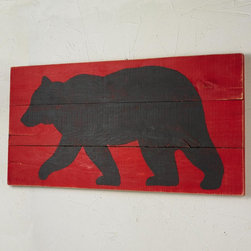 24x48 Black Bear on Red Wood Wall Painting -