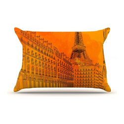 """Kess InHouse - Fotios Pavlopoulos """"Parisian Sunsets"""" Orange City Pillow Case, Standard (30"""" x 2 - This pillowcase, is just as bunny soft as the Kess InHouse duvet. It's made of microfiber velvety fleece. This machine washable fleece pillow case is the perfect accent to any duvet. Be your Bed's Curator."""