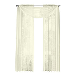"HLC.ME - HLC.ME  Pair of Sheer Panels Window Treatment Curtains, Ivory/Beige - Each panel is approximately 54"" wide and 84"" in Length. For a full look use 2 panels to cover a standard size window. This picture shows two sheer panels  this package contains two (2) Sheer Panel. Decorate every window with style and sophistication. Allows natural light to flow through the room . Add a Sheer Scarf for an elegant finished look (not included) . Have pocket insert that create a clean  tailored look. The finishing touch for your window is a beautiful Decorative Curtain Rod (not included)."