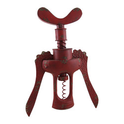 Zeckos - Red Antique Style Corkscrew Weathered Finish Metal Wall Mounted Sculpture - This awesome red antique style corkscrew wall sculpture is perfect for the wall in your bar, dining room, kitchen or wine cellar adding a stylish accent. Crafted from metal, this 19.5 inch high, 14.5 inch wide, 2.5 inch deep (50 X 37 X 6 cm) sculpture features a hand-painted weathered finish giving it a vintage vibe, and easily mounts using the keyhole hanger attached on the back. It's amazing as a gift any wine lover or art enthusiast is sure to admire