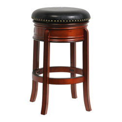 "Boraam - Boraam 29"" Hamilton Swivel Stool in Brandy - Boraam - Bar Stools - 43229 - The Hamilton Swivel Stool by Boraam Industries is composed of solid hardwood in a brandy finish, and engineered to perfection. Rich bonded leather upholstery and authentic brass nail head trim lend a note of sophistication to this classic counter stool. This wooden barstool also features traditional molding on the apron, high density foam padding, and a steel swivel plate with full ball bearing design for an effortless 360-degree turn. Each leg has a strategic flare design that provides durability and balance to those who sit."