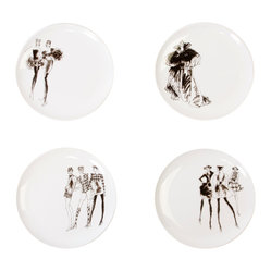 "Working Class Studio - Ben Collection - Ceramic Plate Set - Bring new meaning to the term ""fashion plate"" as you add fresh flair to your casual dining space. Models pose in classic black and white on 8-inch plates, ideal for salad, dessert or small bites."