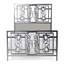Corsican - Custom French Art Deco Bed in Silvertone Finish, King - Corsican has been in business over 40 years. Their entire focus is making wrought iron furniture. Many of their skilled craftsman are second generation.