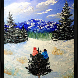overstockArt.com - Miller - Bringing Home The Tree Oil Painting - Bringing Home the Tree is a beautiful painting of winter landscape and two children struggling to get a Christmas tree to their home. Enjoy the beauty of this painting reproduced as a fine canvas print. Peggy Miller is a self taught artist that worked in many different artistic jobs from graphic design, costume design and many others. However, painting has become her passion. She is a nature lover that believes in conservation and preservation and hopes that her work will help others see the world as she does, with the wonder of a child. In her paintings she tries to capture a soft, beautiful, serene feeling that beauty of nature gives to her.