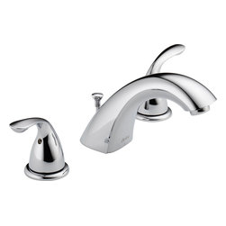 """Delta - Delta 3530LF-MPU Classic Series Two-Handle Widespread Deck-Mount Lavatory Faucet - The Delta 3530LF-MPU is a Classic Series two handle Widespread Deck-Mount Lavatory Faucet. This classically styled faucet features an adjustable 6"""" to 16"""" centered application, a Quick Snap hose for easy installation, a solid brass fabricated end valve and spout body, a 5-1/4"""" long 3-3/4"""" high rigid spout, and 1/4 turn handle stops. The included 3/8"""" (O.D.) copper supply tubes and 1/2""""-14 NPSM adapters allow for a do-it-yourself installation, and it comes with a matching metal pop-up style drain fitting. This model has a maximum flow rate of 1.5 GPM, and it comes in a bright, Chrome finish."""