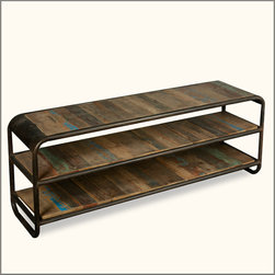 Industrial Iron & Reclaimed Wood 3 Tier Entry Hall Foyer Console Table -