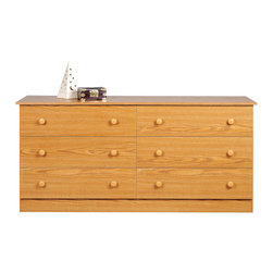 Prepac - Prepac Oak Edenvale 59 Inch 6-Drawer Dresser - The edentate 6 drawer dresser is one functional piece that won't overwhelm your bedroom's decor. Six full-sized drawers will have your clothing organized in a jiffy, and reorganized just as quick thanks to their easy removal. Clean lines and a minimalist design mean this dresser will look great with any mirror, jewelry or accessories you choose to store on top. Dressed up or down, this dresser's a safe and budget-friendly bet for any bedroom. Complete the look with other pieces in the edentate bedroom collection!