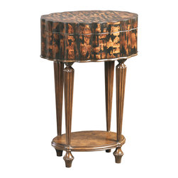 Ambella Home - Tiger Oval Accent on Stand - Intricate pattern of laminated coco bark on an oval shaped mahogany and polymer frame.  Imported.