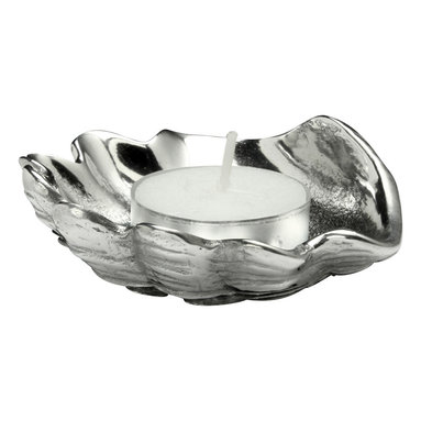 Arthur Court - Clam Shell Tea Light - Reflect natural beauty in your decor by featuring oceanic shapes, like this stunning clam shell candle holder. This lovely, sculptural aluminum holder will fit one tea light.