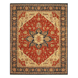 Rugsville - Rugsville Antique Heriz Rust Blue Wool 10070 Rug, Red & Rust, 9'x12' - Rugsville Heriz rugs are finished in tribal style with natural colors and sizes. Transform any room in your home with the Elegant and amazingly beautiful Rugaville Heriz Rug Collection. The rugs are finely woven in India of superior, hand-spun Wool. A special wash is the final touch, creating a luxurious patina.