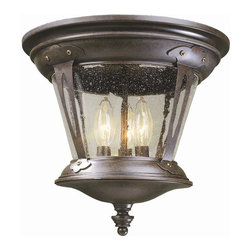 World Imports - Northampton 3 Light Flush Mount Fixture in Br - Manufacturer SKU: WI7426489. Bulbs not included. Ceiling mount only. Elegant English style lanterns. Can hang outdoors. Seedy Glass. Bronze Finish. Northampton Collection. 3 Lights. Power: 40w. Type of bulb: Candelabra. Bronze finish. 12.25 in. W x 11 in. H (12 lbs.)