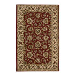 """Nourison - Nourison India House IH72 2'6"""" x 4' Red Area Rug 41448 - Regal red is simply sensational in this resplendent design. Abundant florals spill from the ivory border and across the richly toned center ground. Details in garnet, jade and antique gold complete the luxurious effect."""