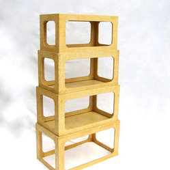 Stacking Rattan Table Bookcase Set Circa 1960s Blond Midcentury By Nachokitty