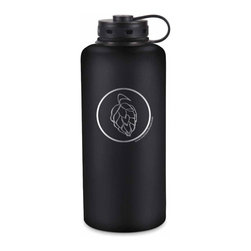 "Craft Beer Hound LLC - Best Growler Ever - This is the BEST growler EVER! Double-walled, vacuum-insulated stainless steel keeps your beer cold all day! Half gallon (standard 64 oz size) growler featuring our hop graphic design. Measures 5"" x 12""; Lightweight 18/8 stainless steel is 100% recyclable. Pint glass in image not included - pictured for scale only."