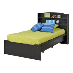 "Prepac - Prepac Aspen Twin Bookcase Platform Bed in Black Finish - Prepac - Beds - BPT03602K - The aspen bed is both contemporary and functional. The integrated headboard is a smart and cost effective alternative to purchasing a bed and headboard separately. This bookcase style headboard features two 5"" Deep shelves that are ideal for clocks, photos, toys and other small bedside items. The platform bed has wooden slats to support most mattress types and the mattress fits snuggly within a 3"" Deep bed frame recess. Sides are finished with sturdy 3. 5"" Wide MDF rails, with openings underneath to provide optional storage space for baskets or tote boxes. The simple clean lines and gentle curves of the headboard and footboard ensure that this bed will be an ideal addition to any decor."
