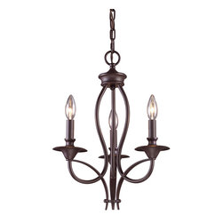 Elk - Medford 3-Light Chandelier in Oiled Bronze - This Medford chandelier makes a bold statement with its dark wrought iron frame, oiled bronze finish and three historic candlestick bulb holders. Perfect for those with traditional taste, the design of this piece is truly timeless, and will be in style for centuries to come. This chandelier really stands out in a light, neutral-toned dining room.
