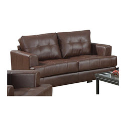 Coaster - Coaster Samuel Leather Attached Seat Cushions Loveseat in Dark Brown - Coaster - Loveseats - 504072 - You'll be set with this love seat in your living room decor. The piece carries a dark brown bonded leather upholstery and features attached seat cushions with tufted detailing. In addition the slightly tapered arms and exposed wood block feet add a sense of character to the overall look. Blend casual and contemporary style together with ease by adding this loveseat to the decor.