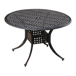 """Lakeview Outdoor Designs - 48"""" Cast Aluminum Patio Dining Table - Adding table space to your outdoor area is easy using any of the universal tables from Lakeview Outdoor Designs. Matching any collection or set, combine this 48-inch round cast aluminum patio dining table with any set of chairs or market umbrella you desire. The table features a classic basket weave design across the top and cross bracing underneath for strength. The antique bronze powder-coated and rust-resistant aluminum frame is capped on the bottom with non-marking leveling feet for support and held together with stainless steel hardware for durability."""