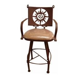 Sun Design Iron Bar Stool - Sun Design Iron Bar Stool. Solid iron bar stools with swivel top are perfect for any bar or breakfast bar home decor style. Lots of great designs. These are Heavy duty and ready for the elements. Faux leather, cushioned seat for long lasting durability. This stool Allows you to enjoy the elevated dining experience. Barstools are sold in pairs Only. Price is per barstool.