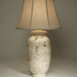 The Natural Light - Bianco Balsamic Table Lamp - - Pottery base is finished in off-white.  - Topped with a Hopsack Beige fabric shade. The Natural Light - 5516
