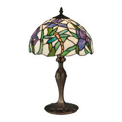 Dale Tiffany - Dale Tiffany Prosa Table Lamp - Light and airy our Prosa table lamps gentle good looks will blend well in any decor in your home; The gently scalloped dome shade features a white background with green stalks of lavender and pink iris blooms. Tiffanys signature dragonflies in bright yellow and pastel green are seen flying throughout the iris blossoms. The metal base is cast with a pretty bow detail on the column and is finished in antique bronze. A perfect choice for a sunroom or nightstand Prosas delicate beauty will be a treasured family heirloom for generations to come. Founded in 1979 Dale Tiffany started out manufacturing both art glass lamps and windows. Within two years the company's main focus became Tiffany-styled lamps and shades emphasizing high-quality reproductions of Louis Comfort Tiffany's designs. At the same time Dale became the first factory worldwide to standardize stained-glass production and became a national resource for a product category that had been only regionally produced. Today Dale Tiffany has become the world's foremost designer and manufacturer of fine art glass lighting and home accessories. Using only the highest quality genuine hand-rolled art glass Dale offers an extensive range of designs utilizing the copper foil technique an authentic glass assembly method originally developed by Louis Comfort Tiffany over 100 years ago. With this handcrafted process no two pieces are exactly alike making each design a treasured keepsake. Featuring stained glass reverse-painted glass hand-blown glass and many other techniques and inspired by the legendary designs of L.C. Tiffany Philip J. Handel Pairpoint and others Dale Tiffany has not only captured the timelessness of America's classic designers but utilizes it's own creative skills to develop unique designs that blend perfectly with today's current home fashion trends and lifestyles. Whether producing expensive replicas or affordable budget-priced merchandise Dale insists on the highest standards of quality and workmanship for every one of its products. Each glass shade is inspected on a light box to ensure brilliance of color pattern continuity and structural integrity. Each base is similarly inspected having been manufactured in accordance with UL and CUL standards. All products are then assembled tested and packed according to guidelines that meet or exceed industry standards ensuring only the highest quality reaches the consumer's home. So if your need is a table or floor lamp a hanging fixture or a wall sconce candle votives photo frames night lights or accent lamps Dale's extensive product lines offer the finest selection of art glass lighting and home accessories on the market. Specifications Number Of Bulbs: 1 Wattage: 60W Bulb Type: E27 Base Finish: Antique Bronze Shade Material: Hand Rolled Art Glass Switch: Turn Knob.