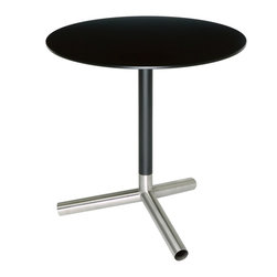 Blu Dot - Blu Dot Sprout Side Table, Black - Pure color and brushed stainless steel play well together in this collection. Complete with a satin finish top and matching stem. Color peeks through the legs for a flirtatious touch. Lacquer on engineered wood substrate with satin finish, Brushed stainless steel base