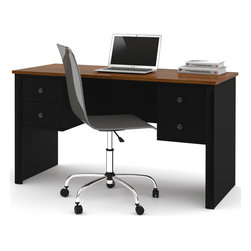 "Bestar - Somerville Executive Desk with Two Pedestals in Black & Tuscany Brown - Somerville is a compact collection styled for home and smaller spaces. Durable 3/4 in. commercial grade work surfaces with melamine finish that resists scratches, stains and burns. 3/4 in. decorative rail under top and pedestals. Classic metal handles. 12 in. width pedestals (two utility drawers and a file drawer). The file drawer is mounted on ball-bearing slides for smooth and silent operation. The desk features efficient wire management to keep your work surface organized. Also available in Tuscany Brown.; Color: Tuscany Brown & Black ; Dimensions: 53.5""L x 23.5""W x 29.5""H"