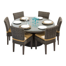 """TKC - Royal Vintage Stone 60"""" Outdoor Patio Dining Table With 6 Chairs 2 for 1 - Outdoor entertaining is stylish and easy with our Royal Dining Pedestal Table. It's elegant round pedestal creates a dramatic focal point for summer gatherings. The table has a tempered-glass top that is easy to wipe clean."""