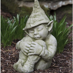 Campania International - Campania International Galen The Elf Cast Stone Garden Statue - S-351-AL - Shop for Statues and Sculptures from Hayneedle.com! About Campania InternationalEstablished in 1984 Campania International's reputation has been built on quality original products and service. Originally selling terra cotta planters Campania soon began to research and develop the design and manufacture of cast stone garden planters and ornaments. Campania is also an importer and wholesaler of garden products including polyethylene terra cotta glazed pottery cast iron and fiberglass planters as well as classic garden structures fountains and cast resin statuary.Campania Cast Stone: The ProcessThe creation of Campania's cast stone pieces begins and ends by hand. From the creation of an original design making of a mold pouring the cast stone application of the patina to the final packing of an order the process is both technical and artistic. As many as 30 pairs of hands are involved in the creation of each Campania piece in a labor intensive 15 step process.The process begins either with the creation of an original copyrighted design by Campania's artisans or an antique original. Antique originals will often require some restoration work which is also done in-house by expert craftsmen. Campania's mold making department will then begin a multi-step process to create a production mold which will properly replicate the detail and texture of the original piece. Depending on its size and complexity a mold can take as long as three months to complete. Campania creates in excess of 700 molds per year.After a mold is completed it is moved to the production area where a team individually hand pours the liquid cast stone mixture into the mold and employs special techniques to remove air bubbles. Campania carefully monitors the PSI of every piece. PSI (pounds per square inch) measures the strength of every piece to ensure durability. The PSI of Campania pieces is currently engineered at approximately 7500 for optimum strength. Each piece is air-dried and then de-molded by hand. After an internal quality check pieces are sent to a finishing department where seams are ground and any air holes caused by the pouring process are filled and smoothed. Pieces are then placed on a pallet for stocking in the warehouse.All Campania pieces are produced and stocked in natural cast stone. When a customer's order is placed pieces are pulled and unless a piece is requested in natural cast stone it is finished in a unique patinas. All patinas are applied by hand in a multi-step process; some patinas require three separate color applications. A finisher's skill in applying the patina and wiping away any excess to highlight detail requires not only technical skill but also true artistic sensibility. Every Campania piece becomes a unique and original work of garden art as a result.After the patina is dry the piece is then quality inspected. All pieces of a customer's order are batched and checked for completeness. A two-person packing team will then pack the order by hand into gaylord boxes on pallets. The packing material used is excelsior a natural wood product that has no chemical additives and may be recycled as display material repacking customer orders mulch or even bedding for animals. This exhaustive process ensures that Campania will remain a popular and beloved choice when it comes to garden decor.Please note this product does not ship to Pennsylvania.