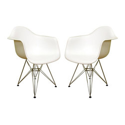 Wholesale Interiors - Baxton Studio Contemporary Accent Chairs in White - 2-Piece Set - It just doesn't get any more modern than this fantastic pair of Baxton Studio club chairs. Bucket style heavy duty molded plastic seats are contoured to fit your body's shape and feature an easy care, wipe-clean finish. Chromed steel bases are a scaffold style design, giving them an intriguing, ultra-modern look. These unique chairs are great for dining, your home office, or anywhere you want to add attractive extra seating. This versatile, contemporary chair is a barebones take on the shape of an armchair. The seat is made from a very heavy-duty, strong plastic with a matte finish and is supported by an equally strong steel base, which is covered with a layer of high-shine chrome. Four black feet are included to protect hardwood flooring. Very up-to-date, your inner sense of style will revel in the trendiness of this chair.