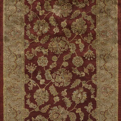 "Momeni - Momeni Mahal Mahogany Red Flowers Transitional 2' 3"" x 8' Runner Rug by RugLots - Mahal is hand-tufted in India from fine wool. These beautiful reproductions of traditional Persian designs are hand tufted and washed in our special ""luster wash"", which enhances the colors and gives the patina an exceptional sheen."