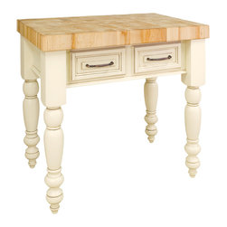 "Antique White Island with Two Drawers - This island features two drawers on one side and decorative panel on the other. Drawers feature full extension soft-close slides.  Coordinating decorative hardware is included.  Maple grain butcher block top is 3"" thick."