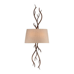 Savoy House - Brambles 2-Light Sconce - Pierce Paxton mixes the organic and the dramatic with the Brambles collection. Inspired by nature, this sconce boasts a moonlit bark finish, and natural linen shades.