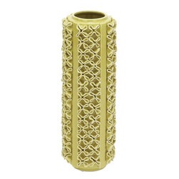 "Benzara - Vase Designed with Distinct Pattern in Light Green Color - Spruce up your home decor by adding this ceramic vase to your living space. Designed with a distinct pattern of repetitive twisted folds, this ceramic vase is sure to bring great ambience to your room. Versatile and high on utility, this vase can be use to display colorful flowers or just as an accent piece of decor in your living space. Its tall, cylindrical shape and perfect finish with fine detailing makes it a highly inspired art that is sure to be admired by friends and guests alike. The light green color is more vibrant, enhancing the vase with great beauty and charm. Highly durable and long lasting, this vase will adorn your home for years to come. This vase will decorate the display shelf of your living room, the study table of your study room, or even the dining table in your kitchen.; Distinct pattern of repetitive twisted folds; Cylindrical shape and perfect finish; Vibrant light green color; Versatile and high on utility; Weight: 7.94 lbs; Dimensions:7""W x 7""D x 20""H"