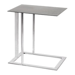 Nuevo Living - Celine Side Table by Nuevo - HGTA407 - The Celine side table is all stainless steel.  It features a brushed stainless steel top and a high polish stainless steel frame.  The c-shape end table makes it perfect for many uses in the living room or bedroom.