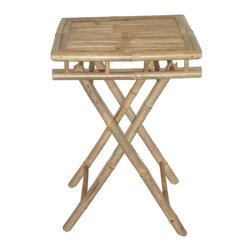 "Bamboo54 - Bamboo Folding Table Small Square - This bamboo utility table is a fully functional table for a little bistro set or to serve afternoon tea. Great as a TV table as well. Folds for easy storage. Measures 28"" H x 20""L x 19"" D."