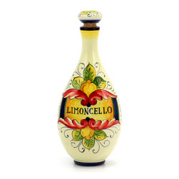 Artistica - Hand Made in Italy - LIMONCELLO: Limoncello Bottle with Stopper (Red design) - LIMONCELLO: If you have ever visited Italy, you''ll instantly know about Limoncello.