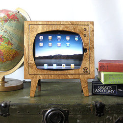 Handmade Natural Wood Retro TV iPad Dock By Miter Box - We love the combination of natural, retro and handmade in this iPad dock created to look like a vintage television set. This would look great on a side table or in a home office!
