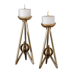 Uttermost - Andar Coffee Bronze Candleholders Set of 2 - Plated, coffee bronze metal with clear glass candle cups and cream candles. Sizes: Sm-6x15x6, Lg-7x16x7