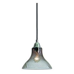 Jasper 1 Light Swirled Glass Mini Pendant - *A Classic Understated Mini Pendant Of Rich Grey Transparent Swirled Glass With Polished Nickel Accents