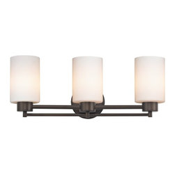 Design Classics Lighting - Neuvelle Bronze Modern Bathroom Light with White Glass - 703-220 GL1028C - Contemporary / modern neuvelle bronze 3-light bathroom light. A socket ring may be required if installed facing down. Takes (3) 100-watt incandescent A19 bulb(s). Bulb(s) sold separately. UL listed. Damp location rated.