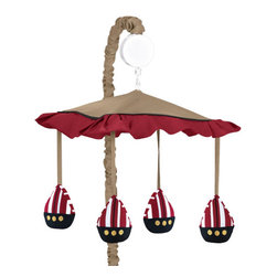 Sweet Jojo Designs - Pirate Treasure Cove Crib Mobile - The Pirate Treasure Cove musical crib mobile set will help complete the look of your Sweet Jojo Designs nursery. This set includes a musical mobile frame, canopy with hanging toys, and matching arm sleeve cover. The wind-up mobile spins and plays Brahms's lullaby. This mobile fits standard cribs.