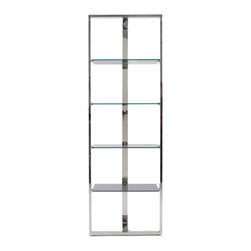 Euro Style - Sienna Shelving Unit - Gray/Stainless Steel - Something new in shelving? Yes. This minimalist design has a lot to say. A sturdy box frame in front and a single support in back gives Sienna shelving an airy look of freestanding grace. Whatever you put on it, will be showcased in luxury.