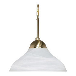 Nuvo Lighting - Energy Star 1-light Brass Pendant Light - Enhance your d_cor with this contemporary brass pendant light. Featuring an alabaster glass shade that is sure to draw attention, this fixture comes with 40 inches of chain for easy hanging and will add a touch of elegance to any room.