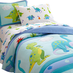 Wildkin - Olive Kids Dinosaur Land Twin Comforter Set - Prehistoric fun! Our Dinosaur Land comforter/quilt has rows of adorable dinosaurs roaming across the bed. Each of the dinosaurs are outline stitched. Super soft all cotton! Back is solid. The coordinating sham features a T-rex with embroidered details and a plush cloud.